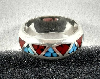 Turquoise and Red Coral Sterling Silver Ring