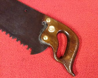 "Henry Disston Old Crosscut Handsaw 36"" Aggressive Tooth Applewood & Brass Handle Saw"