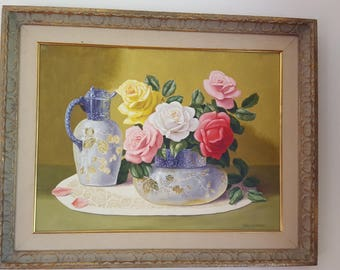 Vintage Still life painting with roses and vase with carafe