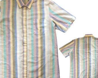 Vintage Men's 1980s Preppy Striped Shirt — M/L