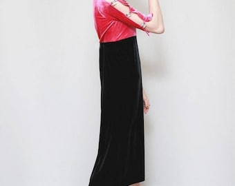 Vintage 1980's Gem Stone Sleeved CC Velvet Midi Dress
