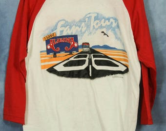 Vintage 80s Alabama Concert Shirt // Fans Tour 1986 // Red and White Baseball Tee