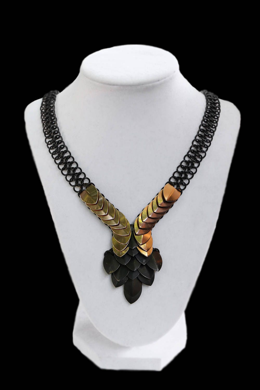 Black and Gold Scalemaille Chainmaille Necklace Scale Maille