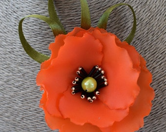 Poppy flower brooch Red poppy pin Fabric flower Fabric brooch Pin flower Fabric jewelry Flower pin Mother gift Apparel flower Dress flower
