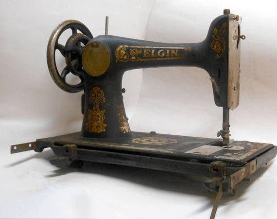 Antique 1890s elgin co treadle sewing machine cast iron for Best home decor sewing machine