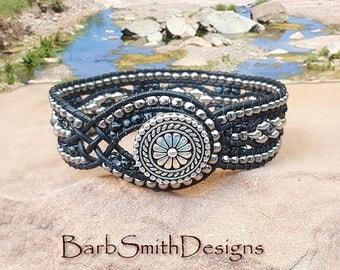 "Black Wrap Bracelet-Beaded Leather Bracelet-Black Bracelet-Southwest-Boho Bracelet-Size 6 7/8""-Custom Size-""Desert Streams"" in Black Marble"