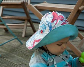 Reversible beach hat // wide brim sun hat // nautical sun hat // boys sun hat