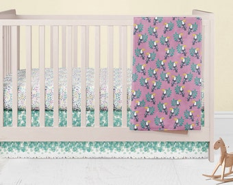 Tropical Crib Bedding Set- Pineapple Infants Crib Skirt - Toucan Fitted Crib Sheet - Baby Blanket- Rail Guard Covers- Crib Bumpers- Nursery