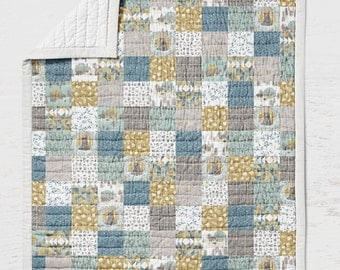 Bears Quilt - Mountain Crib Quilt - Toddler Bedding - Rustic Baby Shower - Woodland Nursery - Wholecloth Adult Quilt- Patchwork Bedding Kids