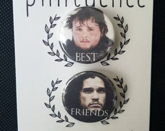 Game of Thrones Best Friends Pin Badge - Jon Snow & Sam Tarly Pins - Game of Thrones Badges - Game of Thrones Pinback Buttons