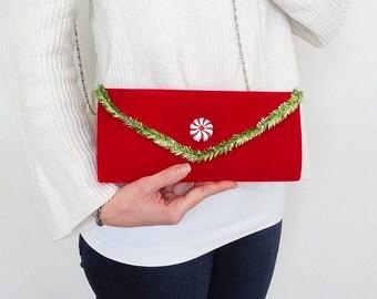 christmas handbag, christmas cocktail handbag, red velvet clutch, ugly sweater party purse, christmas sweater party handbag, red and green