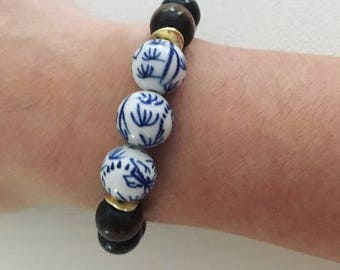 Blue and White Chinoiserie Bracelet | BROWN, beaded, bamboo, stretchy, gold, Designs by Laurel Leigh