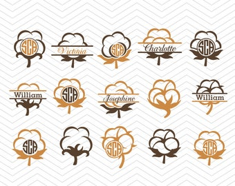 Cotton Boll Monograms SVG DXF PNG eps Summer Southern Cut File for Cricut Design, Silhouette studio, Sure A Lot, Makes the Cut