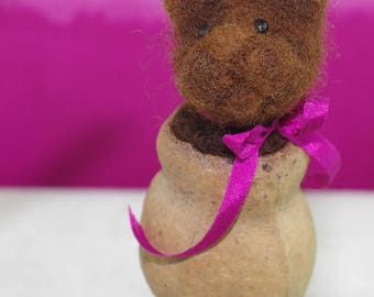 Needle felted gum nut critter, hanging. Small brown kitten.