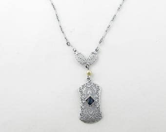 Vintage 10K White Gold Filagree Chain Link Necklace with Sapphire and Pearl #00065