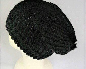 Black slouchy beanie, slouchy wool beanie, recycled slouch hat, festival slouchy hat, black wool beanie, ski holiday, dreadlocks hat