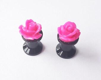 Pink Rose Plugs 6mm