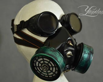 Green Respirator Mask with Goggles | Steampunk gas mask | Burning Man Mask | Halloween Mask| Steampunk cosplay | Steampunk mask