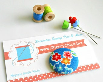 Floral Needle Minder - Ellis and Higgs Fabric Magnetic Needle Minder - Floral Needle Magnet - Gift for Quilter - Needle Keeper - ECS