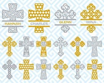 Christian Cross Monogram, Digital Cuting Files, Svg Files for Silhouette, Cricut, Christian Cross SVG, 42luna