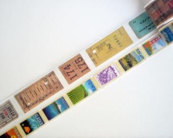 Vintage Train Ticket & Stamp Washi Tape, Stamp Masking Tape, Planner Stickers - WT3934