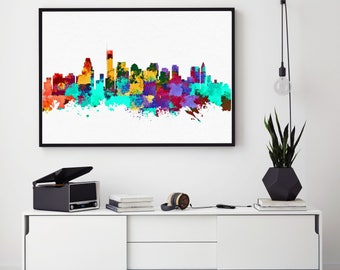 Boston Skyline Art, Boston Print, Home Wall Art Decor, Boston Poster, Birthday Gift, Skyline Art, Giclee Print (N141)
