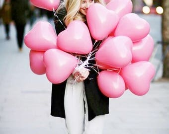 Pink Heart Balloon Set | Valentine's Party Balloons | Anniversary Event Balloons | Pink Blush Party Theme Balloons | Set of 7
