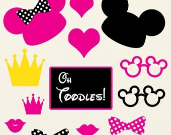 black and hot pink Minnie Mouse, Mickey Mouse Photobooth Printables, Minnie Mouse Birthday, photo booth props, photobooth props, digital