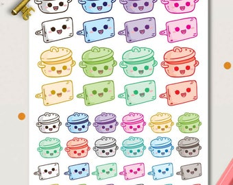 Crockpot Planner Stickers | Meal Prep stickers | Food stickers | Cooking stickers | Crock Pot