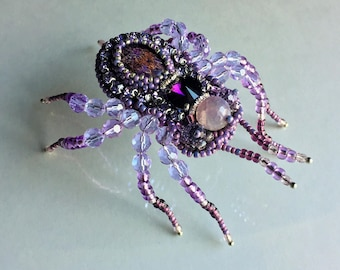 Spider Brooch,Brooch with Regalite ,Brooch Gemstone,Jewelry brooch,Nandmade Brooch,Spider Jewelry,Embroidery Brooch,Embroidered spider