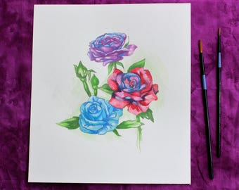 Watercolor Roses ORIGINAL WATERCOLOR PAINTING, original painting, flower painting, rose painting, original artwork
