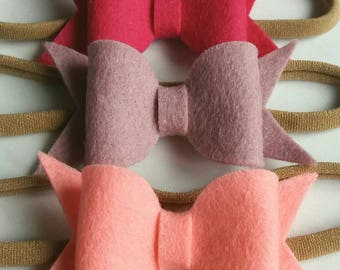 """100% Wool Felt Baby Headbands, Small, Medium, 2.5"""",3.5"""",4.5"""",Hair Bows, 26 Colours,Pink,Grey,White,Blue,Green,Yellow,Red,Beige,Uk"""