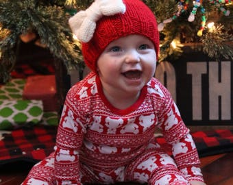 Red Baby Girl Hat with Bow, Christmas Knit Infant Hat, First Christmas Outfit, Big Bow Hat for Baby Girl, Baby's First Valentines, Baby Gift