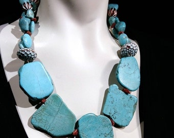 Big bold and chunky turquoise stone, turquoise nuggets, New and Trendy, Wow Factor