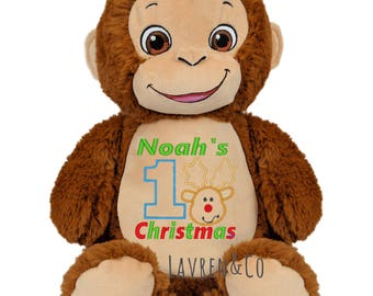 Personalized soft toy, personalised gift, monkey soft toy, birth announcement, birthday gift, Plush monkey, Monkey stuffie, embroidered toy,