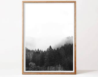 Forest Print, Landscape Print, Printable Wall Art, Black and White Print, Forest Photography, Digital Download, Nature Print, Forest Art