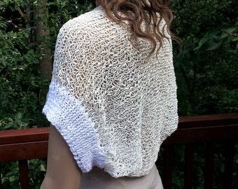 Hand knit White Cotton Bolero. Size Medium - Large. Bridal shrug. Summer top.
