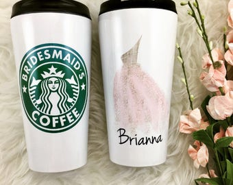 Bridesmaids Starbucks Cup, Bridesmaid Gifts, Personalized Tumbler, Stainless Steel, Bachelorette Favor, Photo Prop, Custom mug