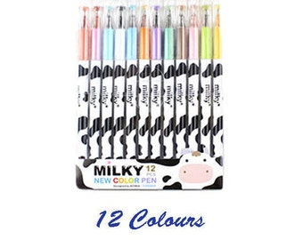 Colour Pens, 12 Colours, Cow, Colourful, Painting, Stationery