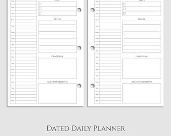 "Dated Daily Planner Inserts, DO1P w/ Schedule, Notes, Gratitude, & Accomplishments ~ Half Letter / 5.5"" x 8.5"" / Mini 3-Ring (3RM-DV3)"
