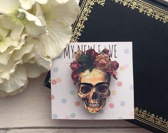 Skull Brooch, Day of the dead, skull accessory, skull gift, gifts for her, colourful Skull, Frida Kahlo, Mexican Skull Brooch, Skull Badge