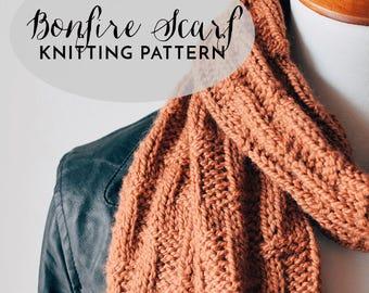 PATTERN: Bonfire Scarf || Open Textured Knit Scarf Pattern