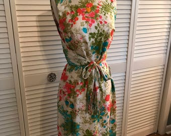 Early 60s silk floral wiggle with tie waist