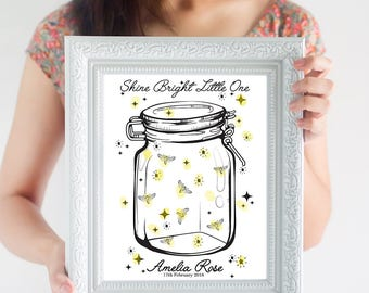 Firefly Baby Shower Guest Book Alternative ~ Gender Neutral Baby Shower Decoration ~ New Baby Guest Book ~ Balloon Fingerprint Guest Book ~