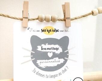 Carte à gratter Chat - annonce bonne nouvelle - surprise - annonce grossesse - demande témoin - futur papa - anniversaire