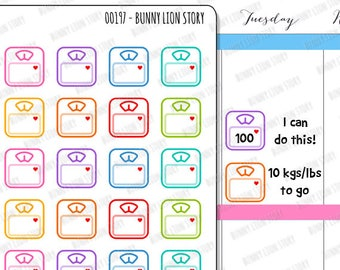 00197 | 24 Body Scales Weight Watcher Diet Work Out Loose Fat Reminder Cute Kawaii Planner Sticker Agenda Journal Diary Notebook Scrapbook