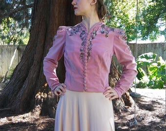 1930s 1940s mauve pink cotton velveteen beaded + sequined jacket // medium