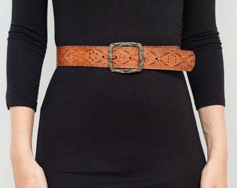 Vintage Embossed Leather Belt