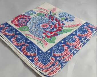 Patriotic Handkerchief with Red , White, and Blue Chrysanthemums  and Stars and Stripes Flag Bunting Borders.  Fouth of July Hankerchief.