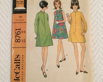 Vintage 1967 McCall's Misses and Junior Dress in Two Versions Pattern Size 12 Bust 32